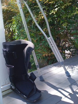 Boot and crutches