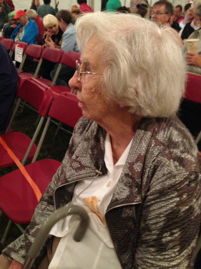 Mom in hear impaired seats at the NSF.