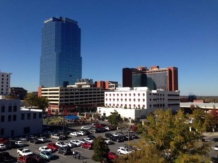 Blue skies from the top of the Statehouse Convention Center parking deck. ©D.L. Ewbank
