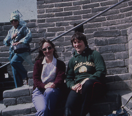 Lynn Ewbank and Karen Stuart on the great wall, 1986. ©D.L. Ewbank